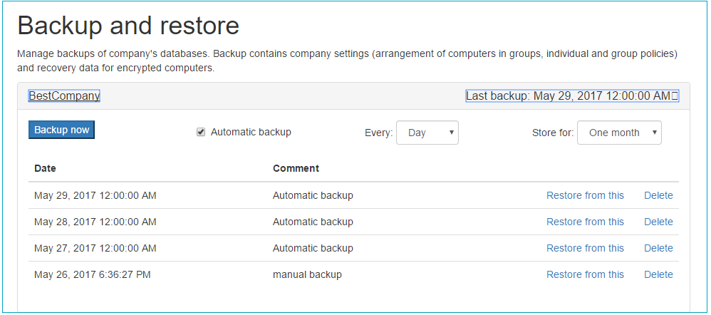 Backup of Jetico Central Manager Database