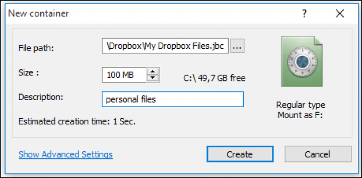 Creating new container for Dropbox