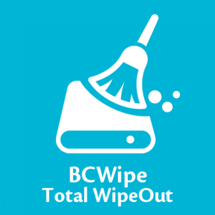 BCWipe Total WipeOut icon on blue background