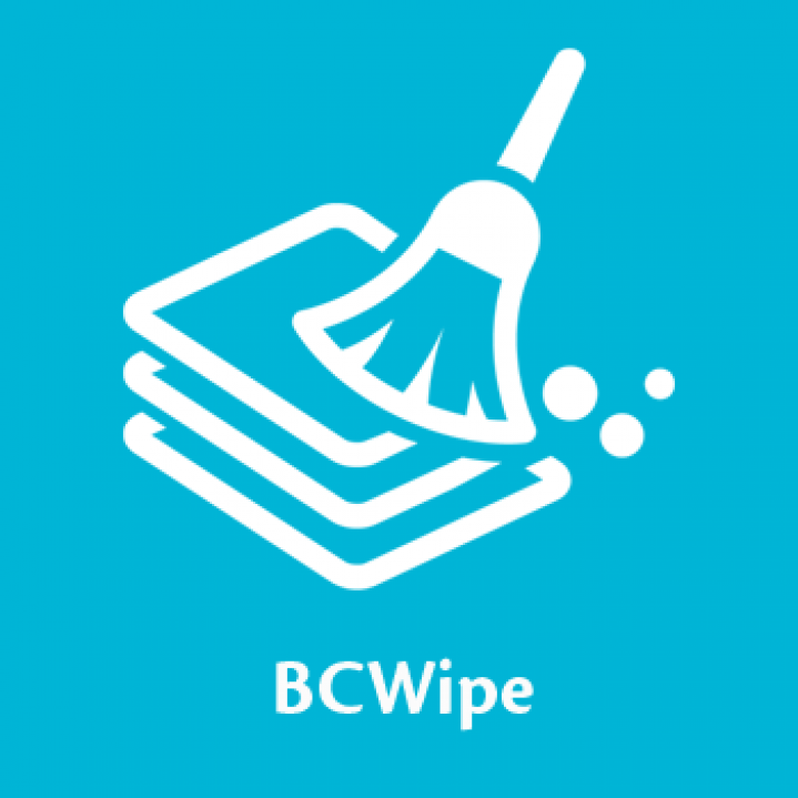 BCWipe icon on blue background