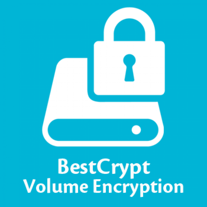BestCrypt Volume Encryption icon on blue background