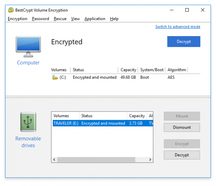 BestCrypt Volume Encryption simplified user interface