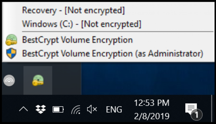 Screenshot step 1 Encrypt with BestCrypt Volume Encryption
