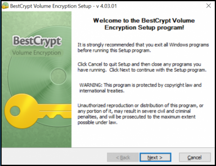 Screenshot initial setup of BestCrypt Volume Encryption