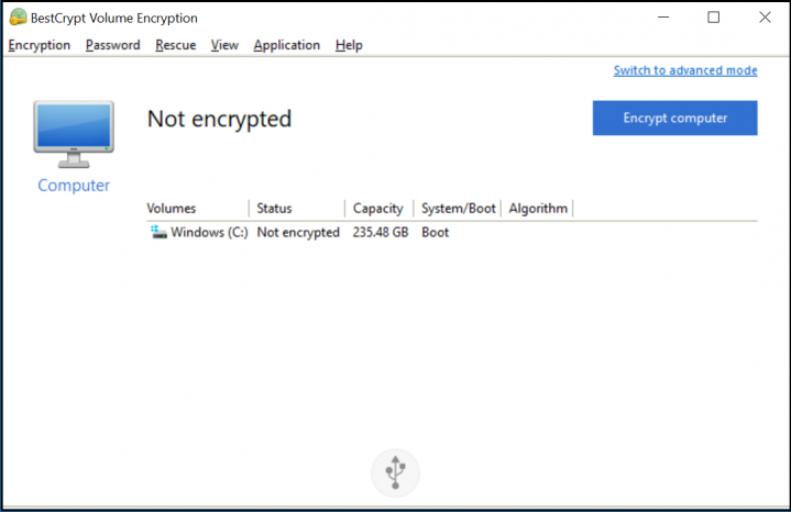 Screenshot Step 1 Simple Interface for BestCrypt Volume Encryption