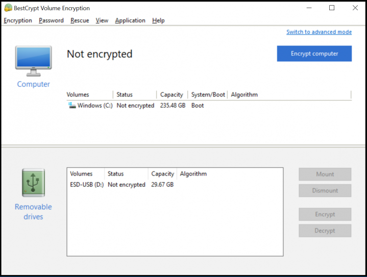 Screenshot Step 2 Simple Interface for BestCrypt Volume Encryption