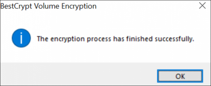 How to Encrypt External Hard Drives - Windows 10, Completed Encryption screenshot