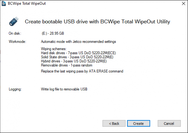 Create bootable USB drive BCWipe TWO screenshot
