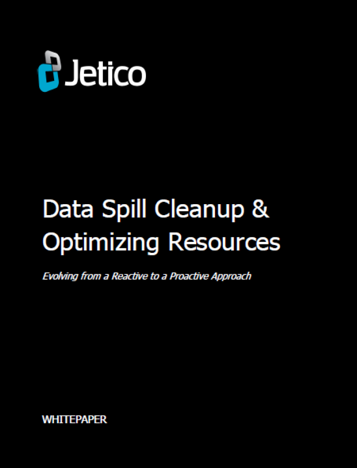 Cover page Jetico's Whitepaper about Data Spills