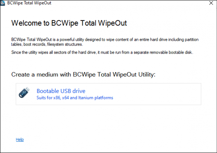 Select bootable USB drive BCWipe TWO screenshot