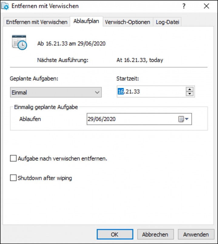 Delete with wiping schedule De Screenshot