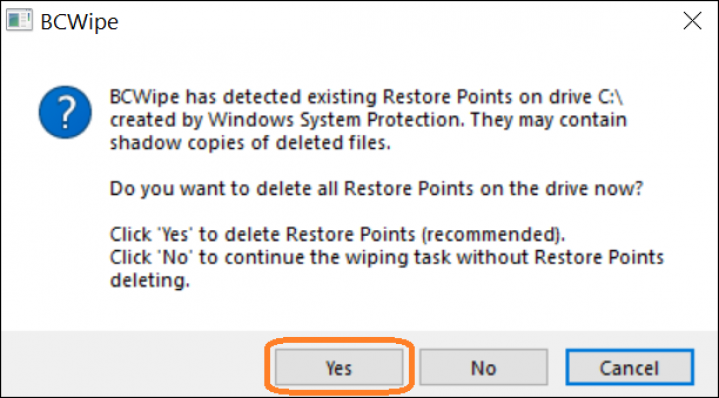 Screenshot of BCWipe interface highlighting how to delete Windows restore points