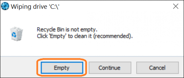 Screenshot of BCWipe interface highlighting how to empty recycle bin