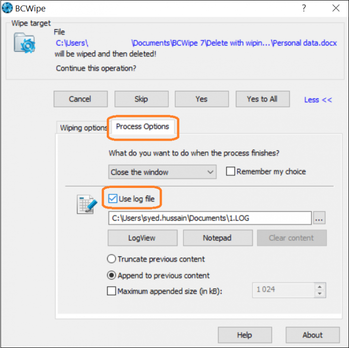 Screenshot of BCWipe interface highlighting how to enable log file