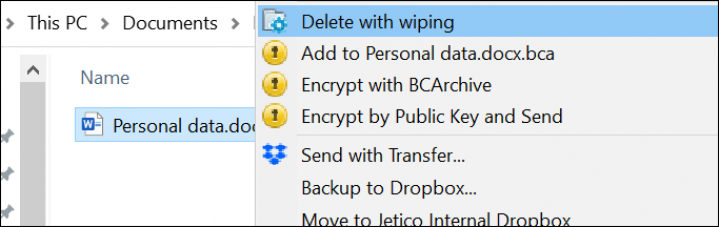 Screenshot of BCWipe interface highlighting how to select files for wiping