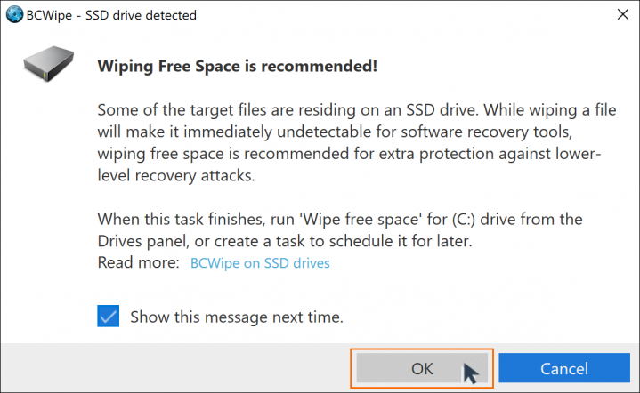 Wiping free space from SSD with BCWipe screenshot